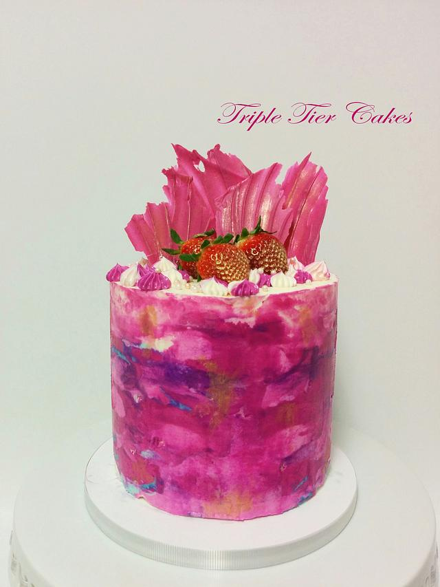 Pink Watercolor cake can be done following these watercolor cake tutorials