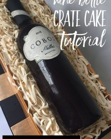 A real looking wine bottle made of cake and fondant