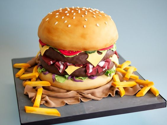 Giant Chicken Burger Cake for a Realistic cake look - Realistic Junk Food Cake Tutorials