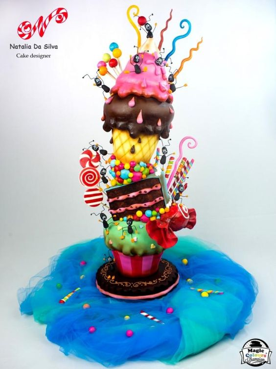A 3D fun cake with fondant icecream, fondant pastry and fondant cupcake