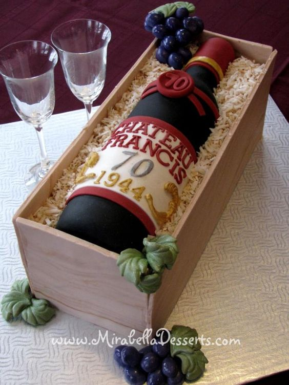 Wine Bottle Cake Tutorials with a cake bottle in a cake crate
