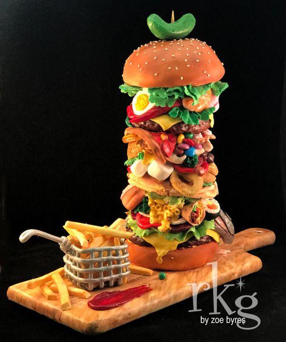 Realistic Junk Food Cake Tutorials with tall burger cake for a burger lover with edible fondant fries