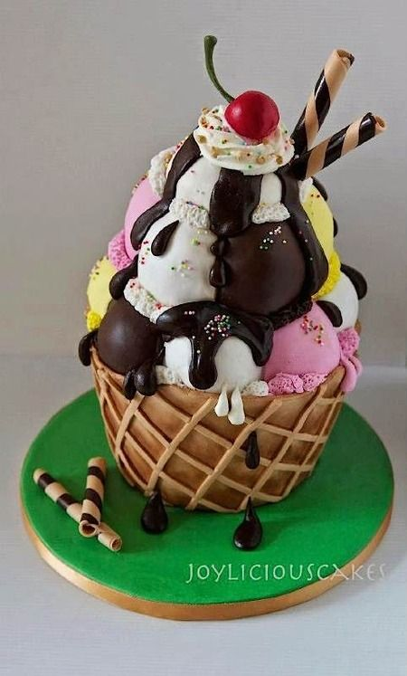 An ice cream sundae birthday cake for an ice cream lover
