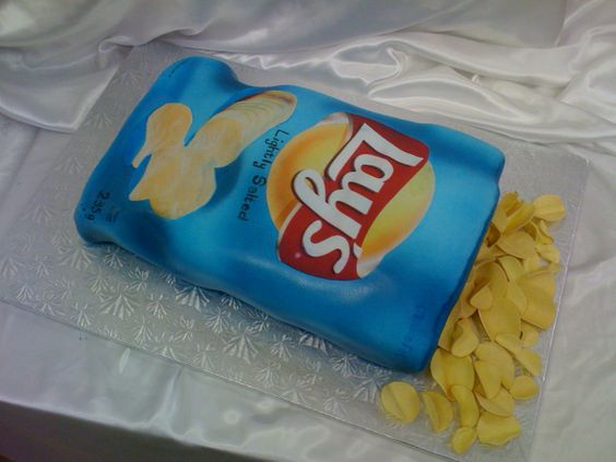 Blue lays fondant cake with fondant chips