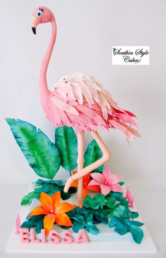 Flamingo Cake Tutorials - Birthday cake carved into a 3D flamingo