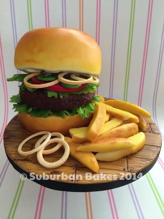 Fondant Burger Cake with french fries