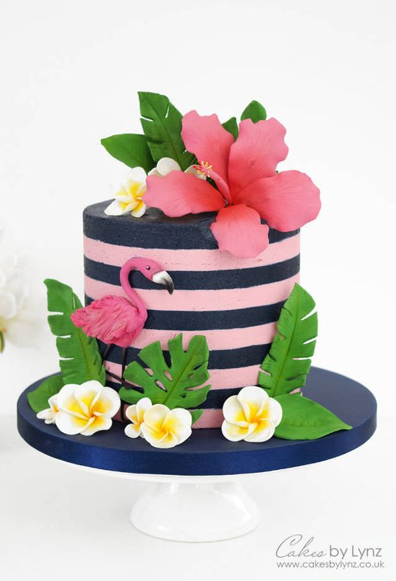 Flamingo Cake Tutorials with pink and blue stripes
