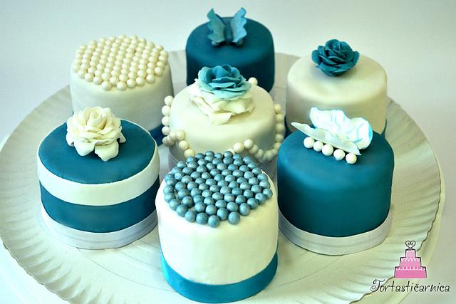 easy blue and white miniature cake tutorials