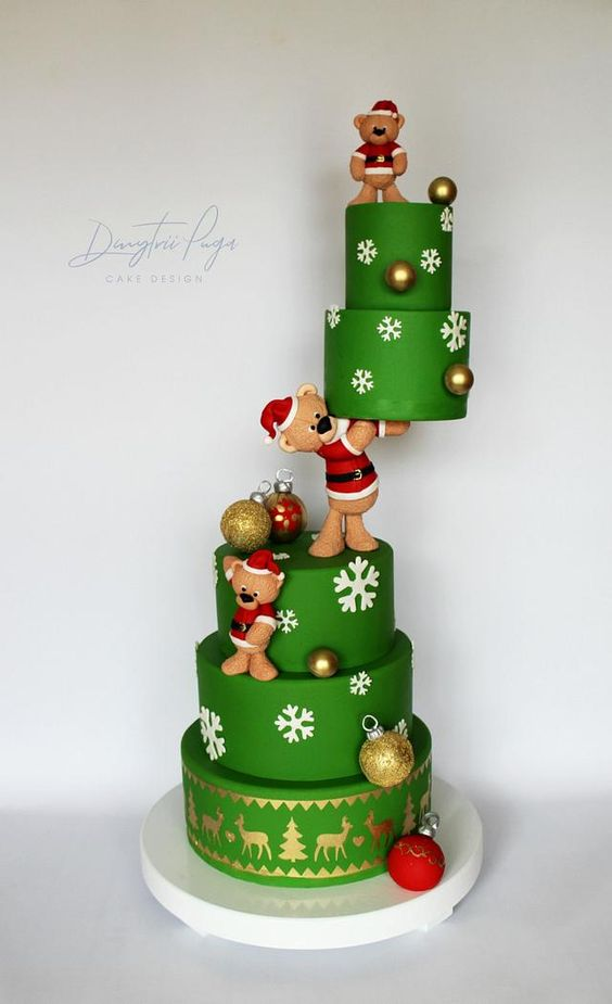 fondant green christmas cake with fondant teddy bears - Christmas Theme Cake Tutorials