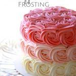 rosettes and pink ombre effect on a cake