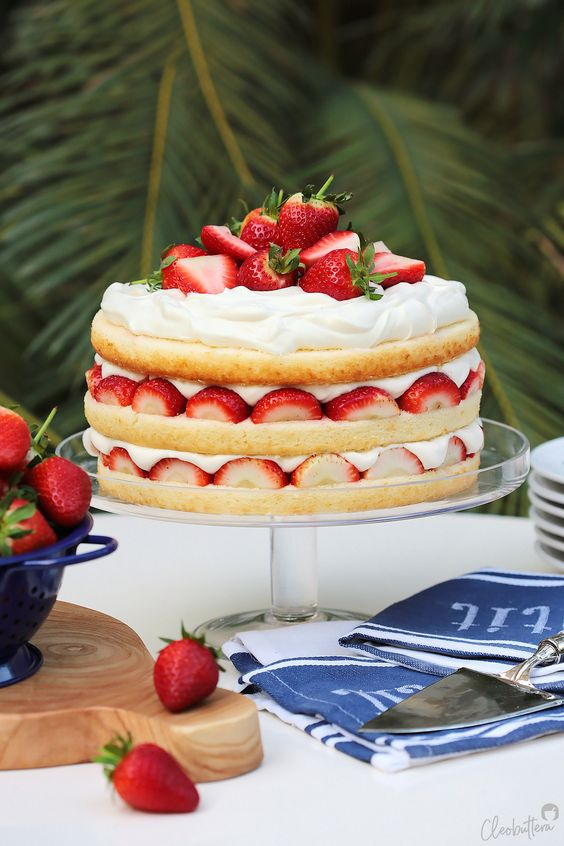 simple strawberry and whipped cream cake