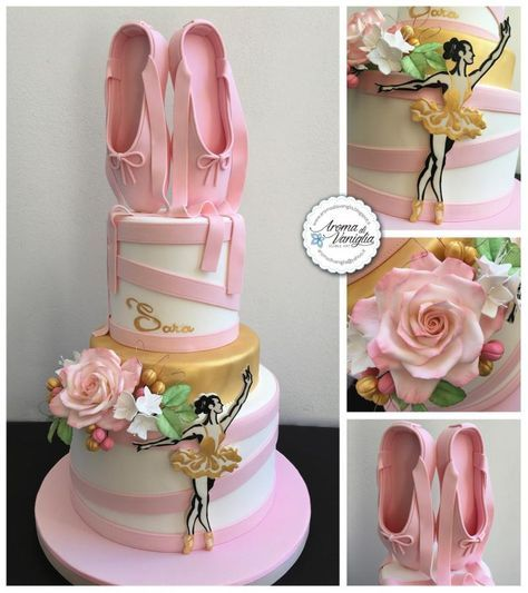 a 3 tier cake with sugar ballerina shoes made of fondant