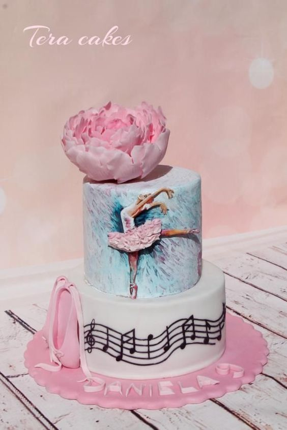 painted ballerina cake with a sugar peony