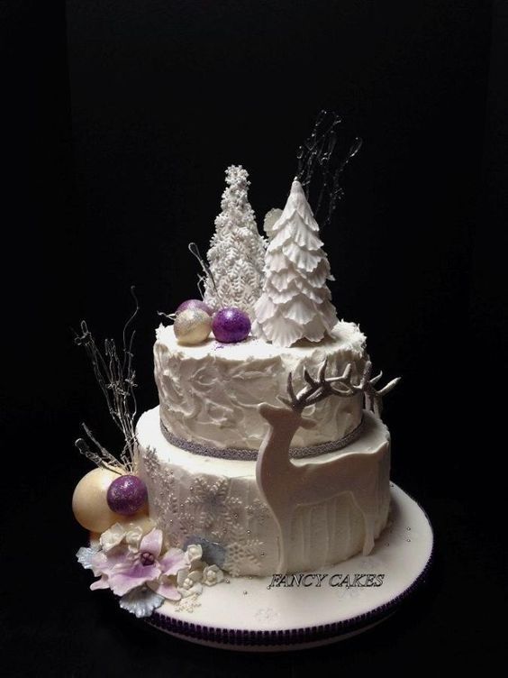 white christmas cake with reindeer
