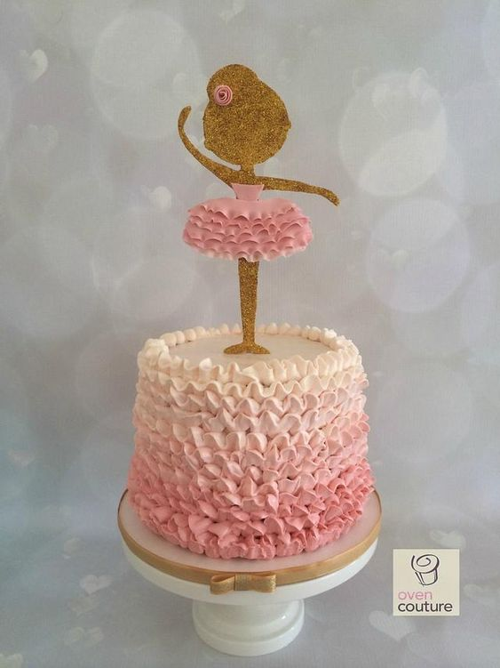 ombre effect ballerina cake made with ruffle