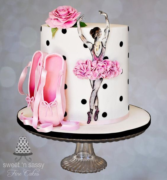 a pink and polkda dot theme ballerina cake