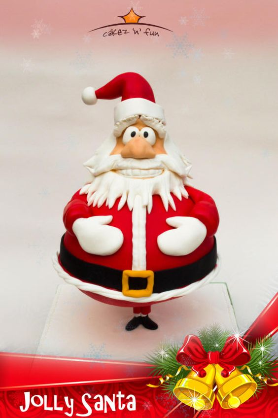 Santa cake with red fondant gravity cake - Christmas Theme Cake Tutorials