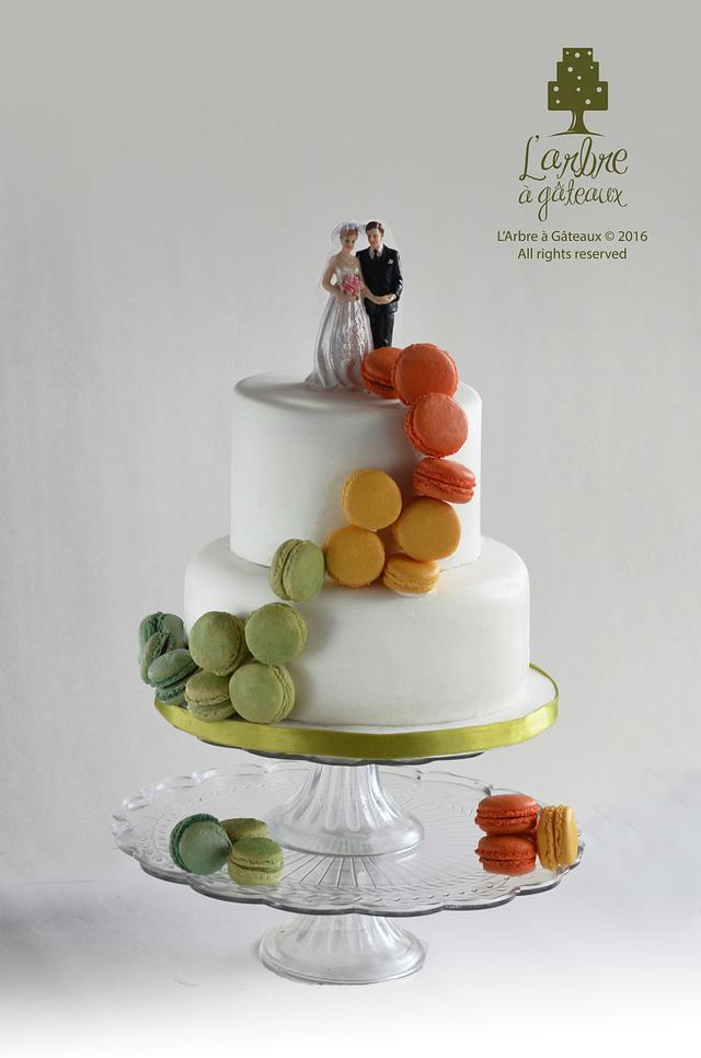 a simple elegant macaron wedding cake