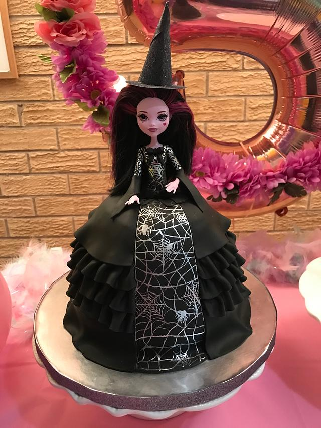 A doll cake which looks like a witch dressed in black with a sugar witch hat - Easy Halloween Cake Tutorials