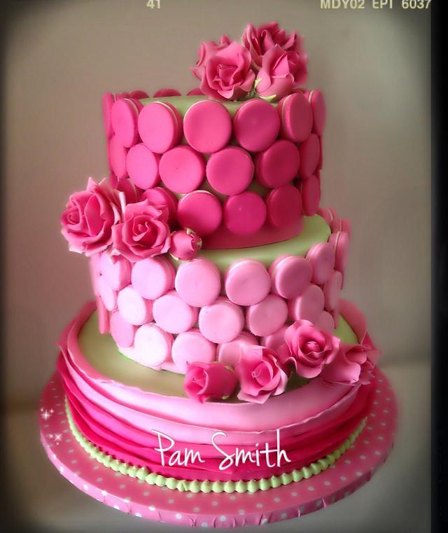pink macaron two tier cake
