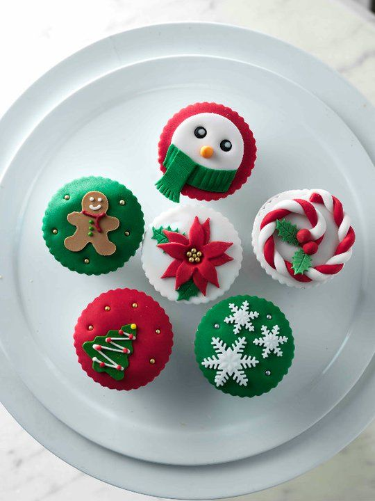 Christmas Cupcake Decorating Tutorials -Simple and elegant snowman, ginger man, snowflake and christmas tree cupcake toppers