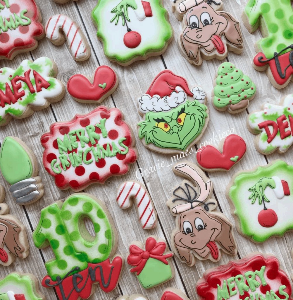 polka dots and cartoon themed cookies with a christmassy look