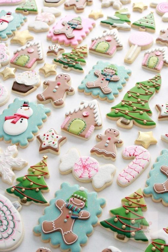 Pastel shades cookie decorating with christmas tree cookie shaped and ginger man cookies too