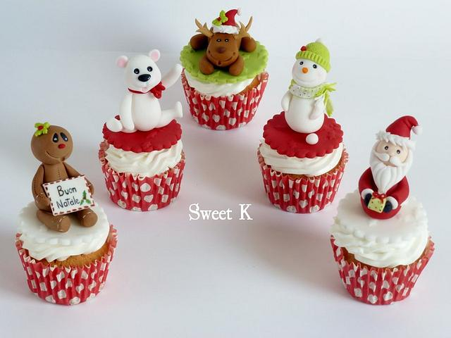 Christmas theme cupcake toppers of santa, snowman, reindeers and more