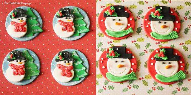 snowman theme christmas fondant toppers for cupcakes