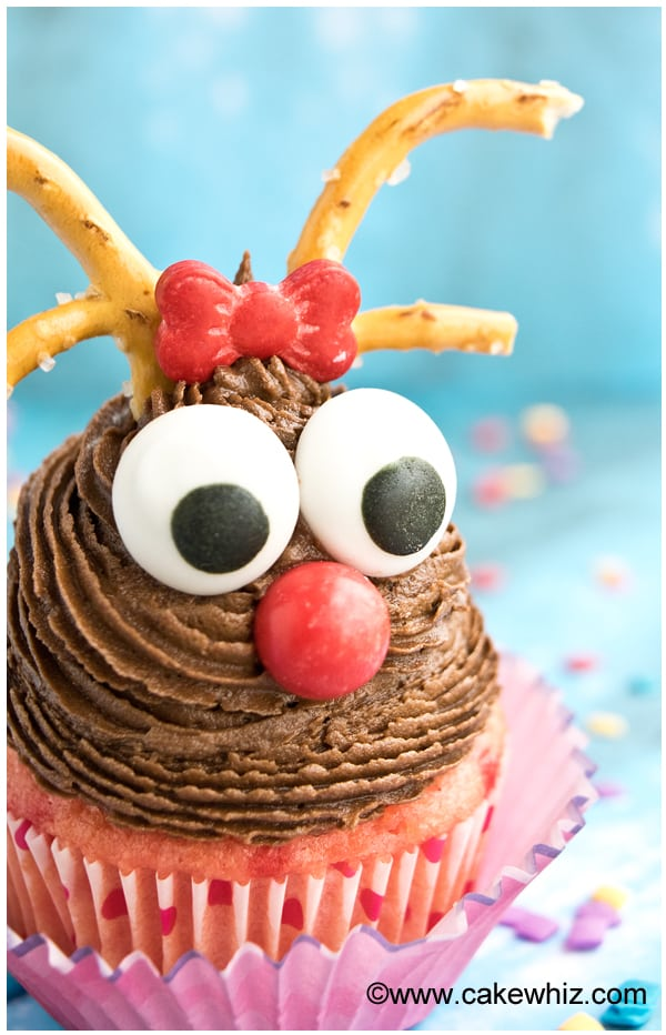 A buttercream theme christmas cupcake with chocolate buttercream swirl and fondant eyes to make it look like a reindeer
