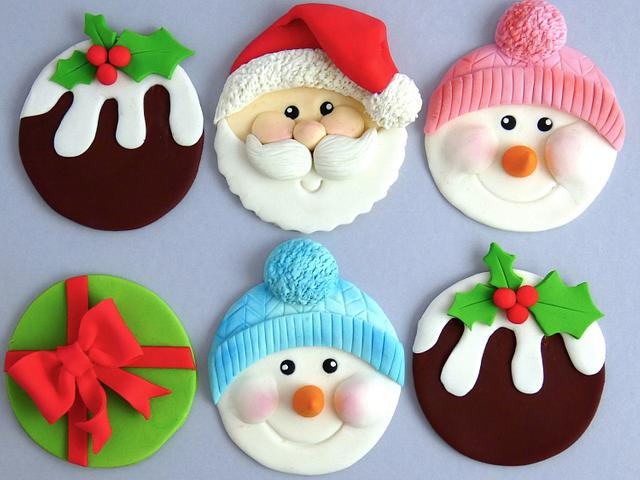 Christmas theme fondant round flat toppers with holly's and snowman face