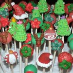 Christmas Cake Pop Tutorials - colorful red and green cake pops with fondant reindeers on it