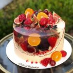Jelly Fruit Cake Tutorials- the jelly layer that is filled with fruits in it like oranges, strawberry, pomegranate, grapes and more