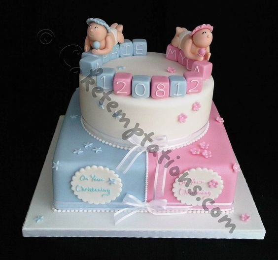 pink and blue theme Baby shower cake Tutorials