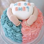 He or she theme cake with one side pink and the other side blue - Baby shower cake Tutorials