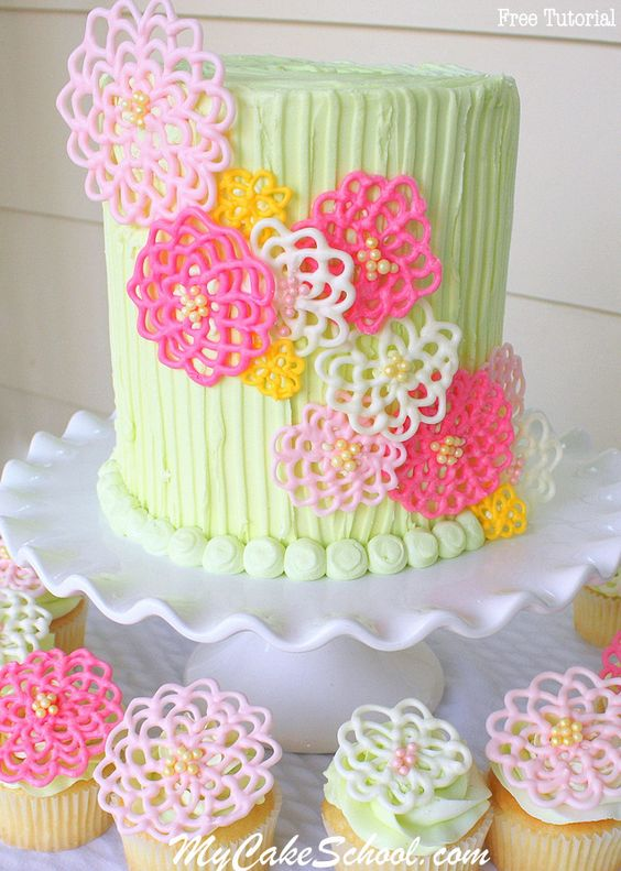 colorful pipped flowers using candy melts