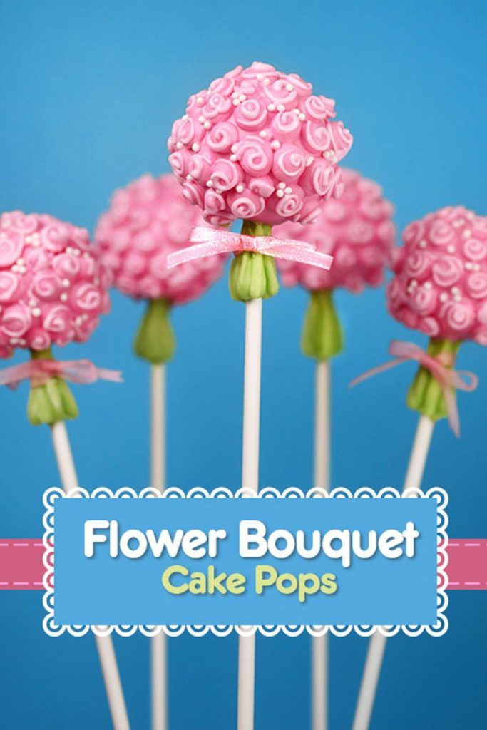 a pink bouquet of flowers on a stick pop