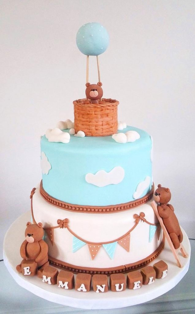 a teddy cake in a an air balloon made of fondant - blue and brown theme cake - Baby shower cake Tutorials