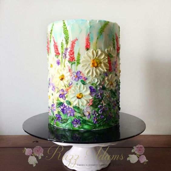 a floral effect buttercream cake with colorful frosting