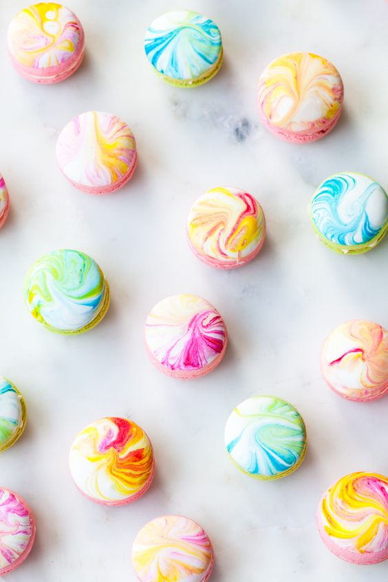 colorful marble effect macarons