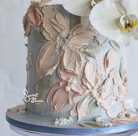 Buttercream Flower painting tutorials with peach buttercream and palette knives