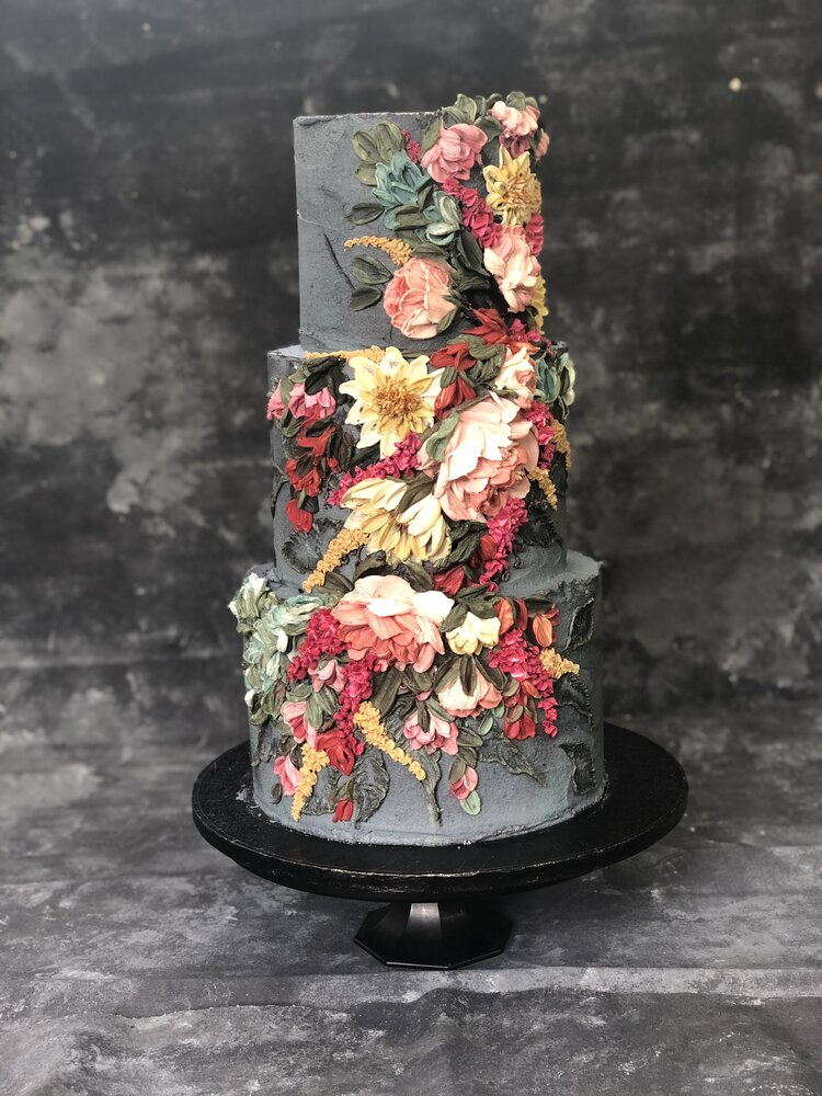 three tier wedding cake with palette knife techniques - Buttercream Flower painting tutorials
