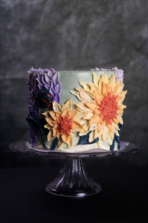 big fantasy flowers made with colored buttercream - Buttercream Flower painting tutorials