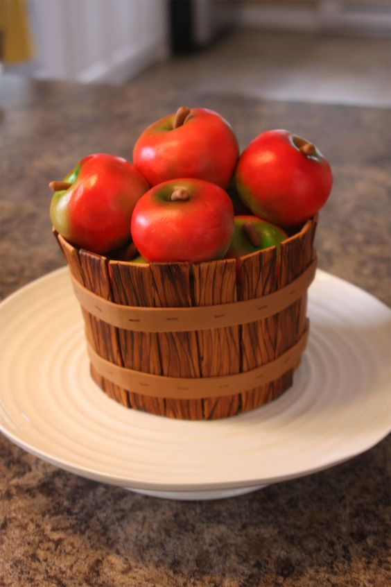 realistic looking wooden bowl with fondant cake apples in it - Fruit Carving Cake Tutorials