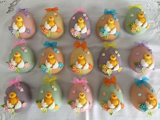 colorful eggs made with little fondant chickens