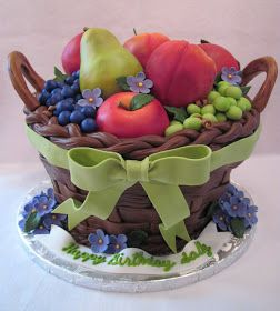 basket of flowers with sugar fondant grapes, fondant apple and more realistic fruits