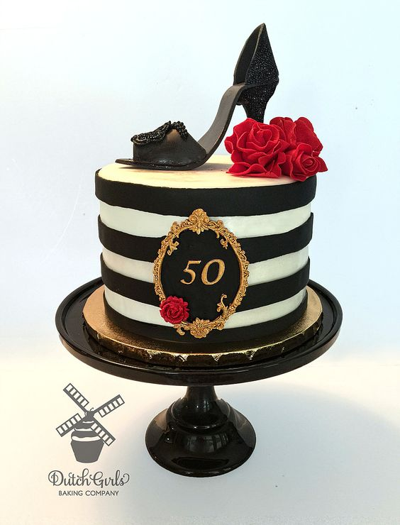 black and white stripe cake with red roses and black stiletto shoe - Stiletto Shoe Cake Tutorials