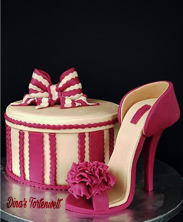 pink fondant heels on a cake with red and pink bow of fondant - Stiletto Shoe Cake Tutorials