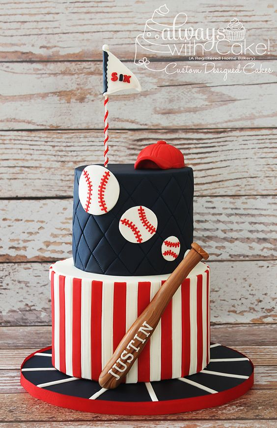 a red and white, black theme with baseball made of fondant