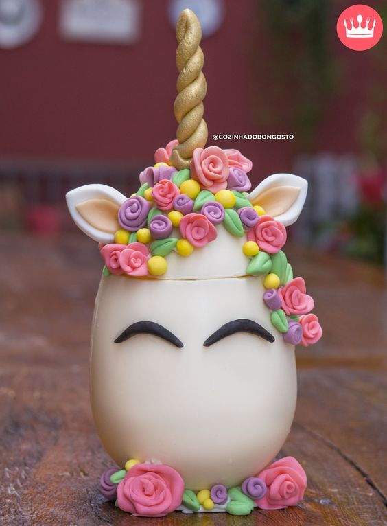 unicorn theme easter egg with fondant colorful flowers and golden horn - Easter Egg Tutorials